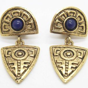 VTG Etruscan Clip On Dangle Earrings CHICO'S